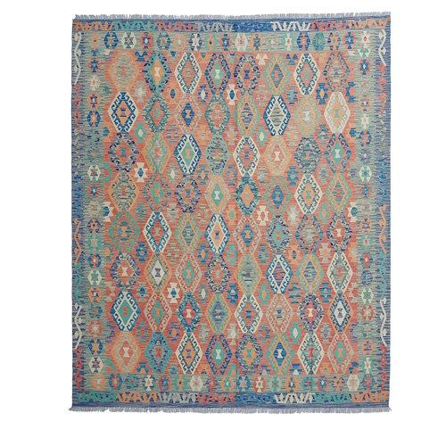 9'84 x 8'30 Sheep Wool Handwoven Multicolor Traditional Afghan kilim Area Rug