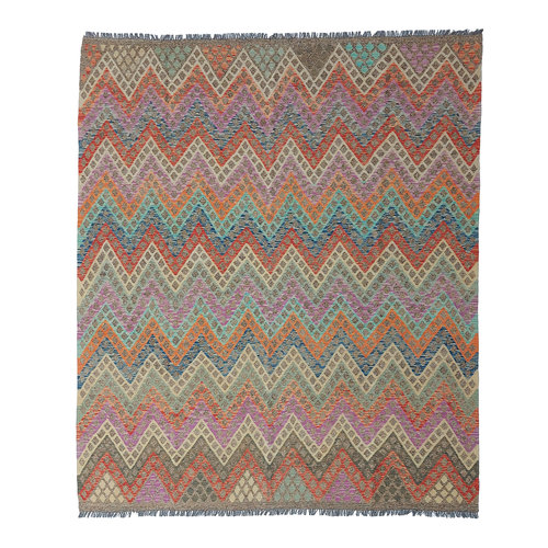 exclusive  Vloerkleed Tapijt Kelim 290 x 253 cm Kleed Hand Geweven Kilim