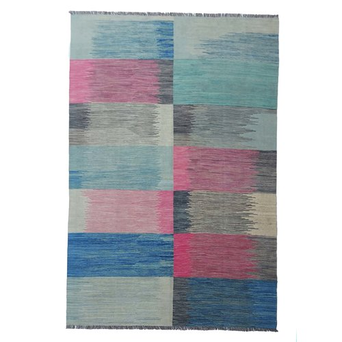 10'04x6'82 Sheep Wool Handwoven Multicolor Modern Afghan kilim Area Rug