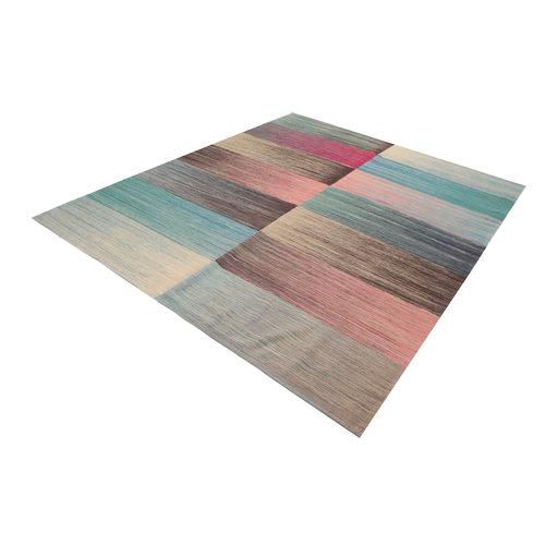 Moderne  Vloerkleed Tapijt Kelim 292x240cm Kleed Hand Geweven Kilim