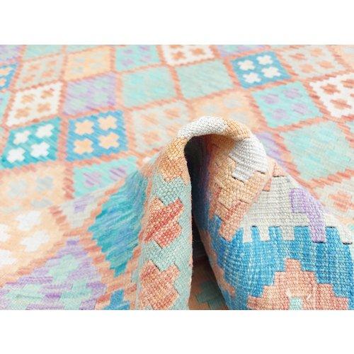 9'68x6'50 Sheep Wool Handwoven Multicolor Traditional Afghan kilim Area Rug