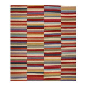 9'71x8'43 Sheep Wool Handwoven Multicolor Modern Afghan kilim Area Rug