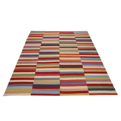 9'71x8'43 Sheep Wool Handwoven Multicolor Modern Afghan kilim Area Rug
