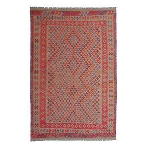 10'14x6'76 Sheep Wool Handwoven Multicolor Traditional Afghan kilim Area Rug