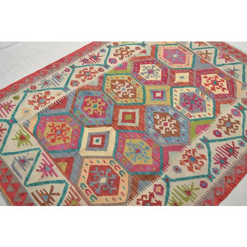 Ghazny  Quality Wool Hand woven 196x145 cm Afghan kilim Carpet Kilim Rug 6'4X4'7 ft