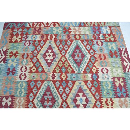 Afgan Geometric Hand woven wool kilim Carpet Kilim Rug 6'39X4'98 or 195X152  cm