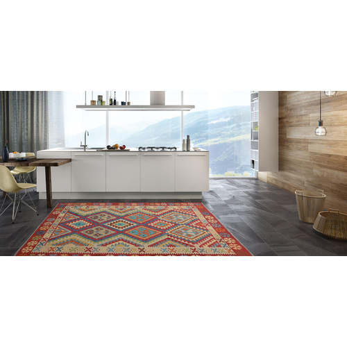 Ghazny  Quality Wool Hand woven 202x150 cm Afghan kilim Carpet Rug 6'6X4'9