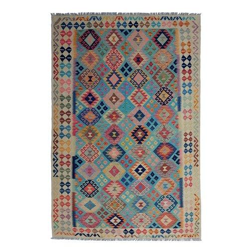 9'97x6'73 Sheep Wool Handwoven Multicolor Traditional Afghan kilim Area Rug