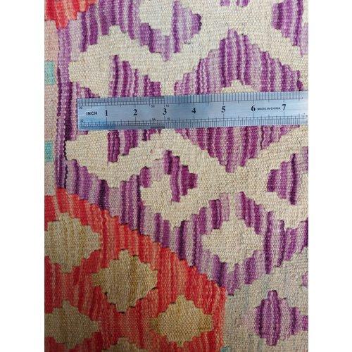 exclusive Veelkleurig  Vloerkleed Tapijt Kelim 300x203 cm Kleed Hand Geweven Kilim