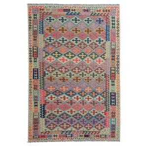 exclusive  Vloerkleed Tapijt Kelim 303x204 cm Multicolor  Kleed Hand Geweven Kilim