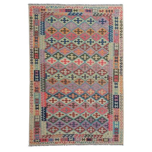 9'94x6'69 Sheep Wool Handwoven Multicolor Traditional Afghan kilim Area Rug