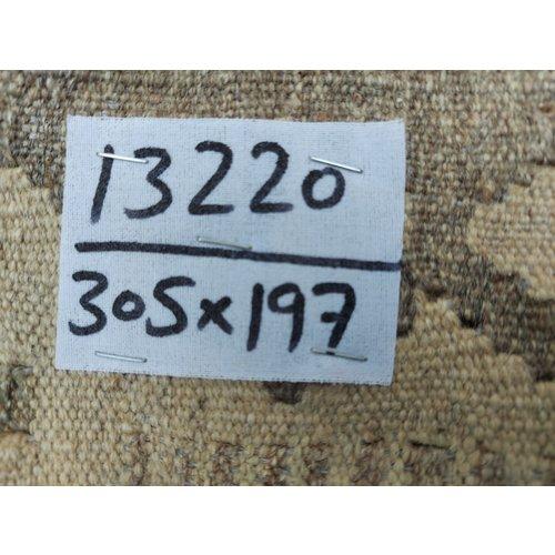 exclusive  Vloerkleed Tapijt Kelim 305x197 cm  Natural Kleed Hand Geweven Kilim