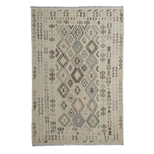 10'04x6'76 Sheep Wool Handwoven Natural Traditional Afghan kilim Area Rug