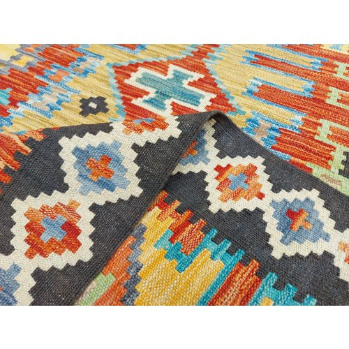 9'61x6'60 Sheep Wool Handwoven Multicolor Traditional Afghan kilim Area Rug