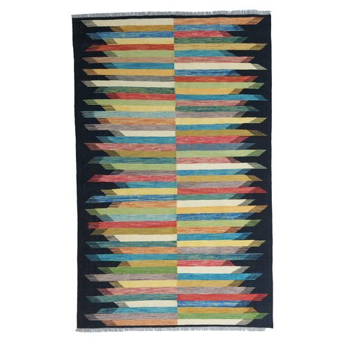 10'01x6'46 Sheep Wool Handwoven Multicolor Modern  Afghan kilim Area Rug