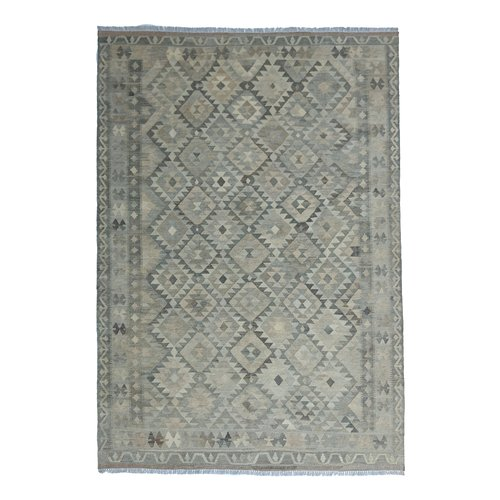 9'58x6'73 Sheep Wool Handwoven Natural Traditional Afghan kilim Area Rug