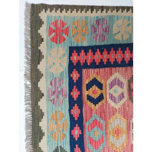 9'84x6'56 Sheep Wool Handwoven Multicolor Traditional Afghan kilim Area Rug