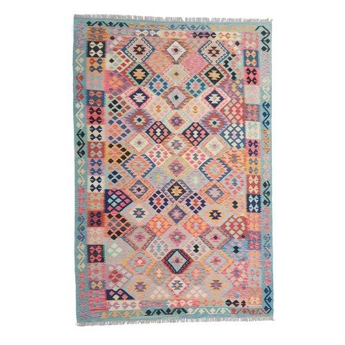 9'91x6'60 Sheep Wool Handwoven Multicolor Traditional Afghan kilim Area Rug