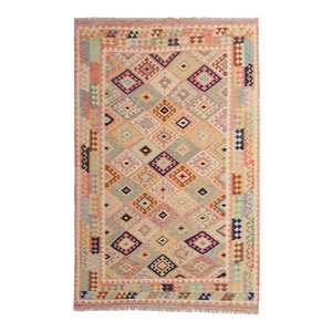 10'04x6'60 Sheep Wool Handwoven Multicolor Traditional Afghan kilim Area Rug