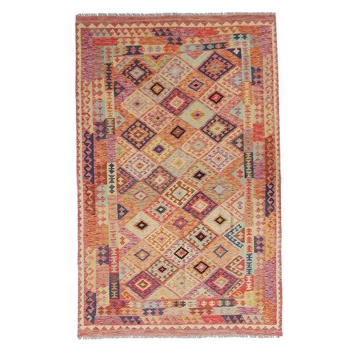 9'91x6'43 Sheep Wool Handwoven Multicolor Traditional Afghan kilim Area Rug