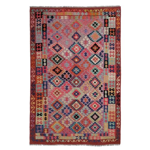 10'01x6'73 Sheep Wool Handwoven Multicolor Traditional Afghan kilim Area Rug