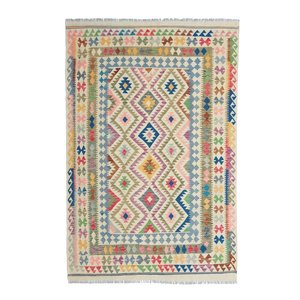9'25x6'33 Sheep Wool Handwoven Multicolor Traditional Afghan kilim Area Rug