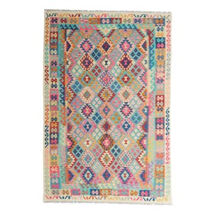 9'97x6'69 Sheep Wool Handwoven Multicolor Traditional Afghan kilim Area Rug