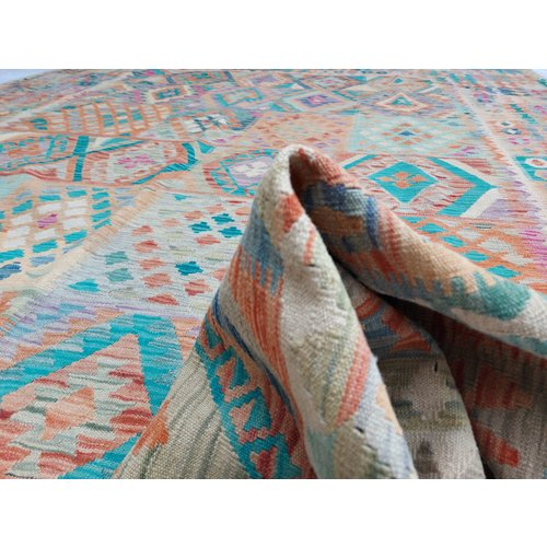 11'45x8'17 Sheep Wool Handwoven Multicolor Traditional Afghan kilim Area Rug