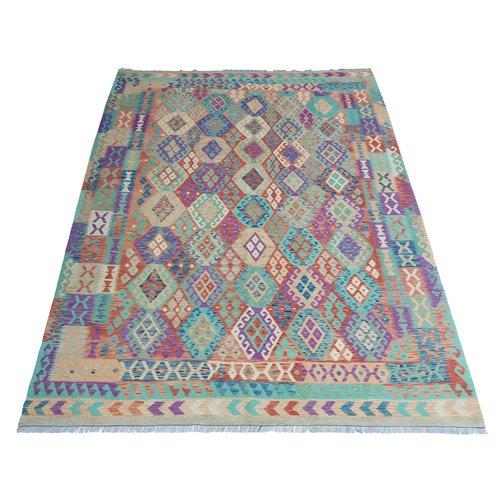 11'68x8'46 Sheep Wool Handwoven Multicolor Traditional Afghan kilim Area Rug