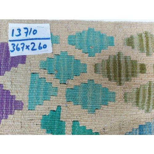 exclusive  Vloerkleed Tapijt Kelim 367x260 cm Multicolor Kleed Hand Geweven Kilim
