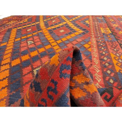 exclusive  Vloerkleed Tapijt Kelim 399x239 cm Multicolor Kleed Hand Geweven Kilim