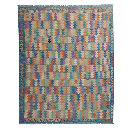 9'88x8'40 Sheep Wool Handwoven Multicolor Traditional Afghan kilim Area Rug