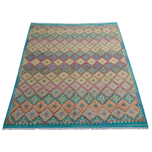 9'45x8'27 Sheep Wool Handwoven Multicolor Traditional Afghan kilim Area Rug