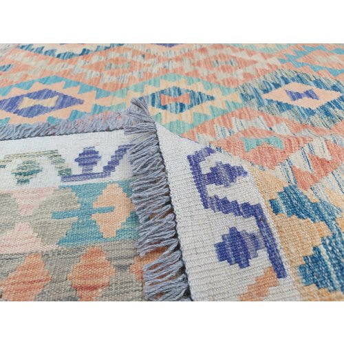exclusive  Vloerkleed Tapijt Kelim 305x256 cm Multicolor Kleed Hand Geweven Kilim