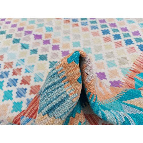 10'14x7'97 Sheep Wool Handwoven Multicolor Traditional Afghan kilim Area Rug