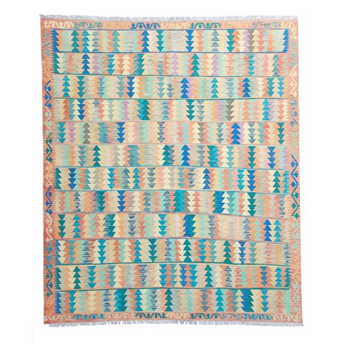 9'94x8'56 Sheep Wool Handwoven Multicolor Traditional Afghan kilim Area Rug