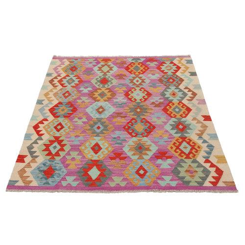 kilim carpet196X156cm Handwoven Multicolor Traditional Afghan