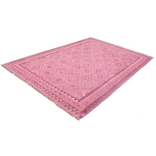 exclusive Kelim Teppich 291x208 cm pink afghan kilim teppich