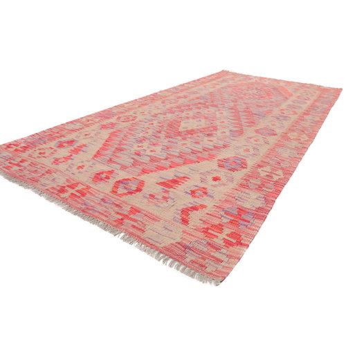 6'8x3'2 Handwoven Afghan Kilim Area Rug Pink Wool Kelim Carpet