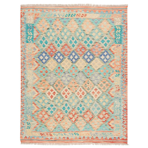 200x158 cm Handgewebt afghanisch traditionell Wolle Kelim Teppich