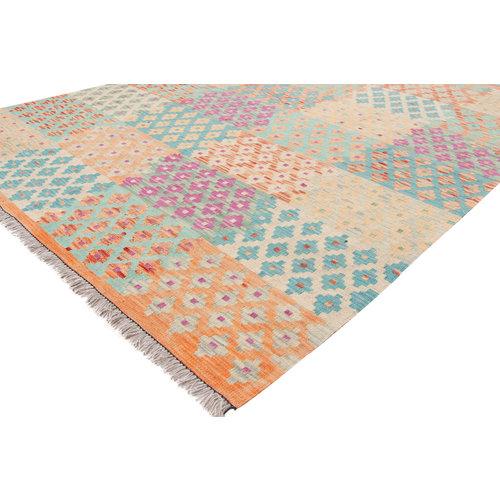 6'7x5'1 Handwoven Afghan Kilim Area Rug Multicolor Wool Carpet