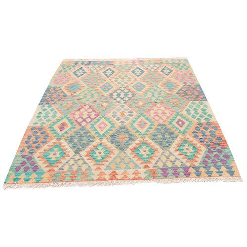195x157 cm Handgemacht afghanisch traditionell Wolle Kelim Teppich