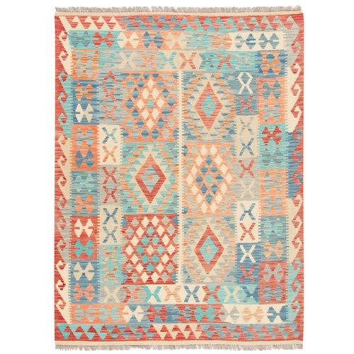 202x155 cm Handgemacht afghanisch traditionell Wolle Kelim Teppich