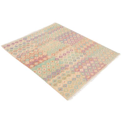 189x155 cm Handgemacht afghanisch traditionell Wolle Kelim Teppich