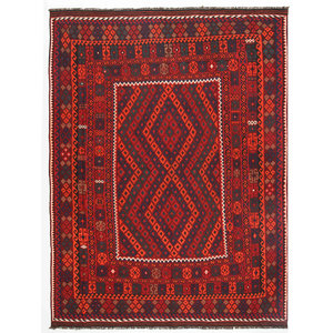 10'11x8'4 Handwoven Afghan Tribal Kilim Rug Wool Kelim Carpet