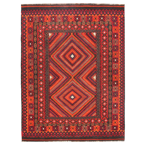 8'11x6'9 Handwoven Afghan Tribal Kilim Rug Wool Kelim Carpet