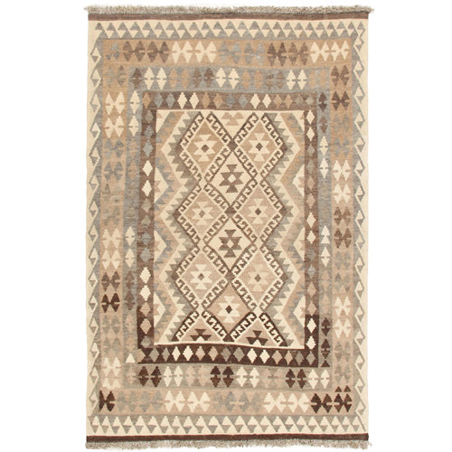 6'6x4'5 Handwoven Afghan Kilim Area Rug Neutral Color Wool Carpet