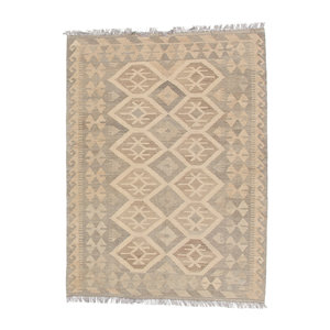 5'9x4'2 Handwoven Afghan Kilim Area Rug Neutral Color Wool Carpet