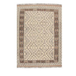 5'7x4' Handwoven Afghan Kilim Area Rug Neutral Color Wool Carpet