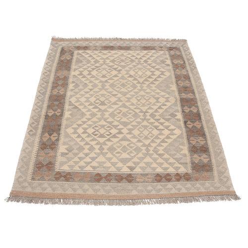 171x124 cm Handgewebt afghanisch Kelim Orientteppich Braun Wolle